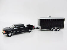 1:64 GreenLight BLACK 2015 Silverado w/BLACK Enclosed Car Trailer *HITCH & TOW*