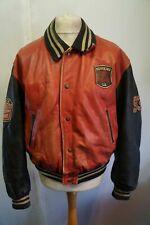 VINTAGE Distressed REDSKINS Teddy Leather Varsity Bomber Jacket Size XL