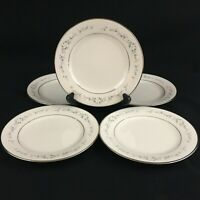 "Set of 5 VTG Bread Plates 6 1/4"" by Noritake Heather White Floral 7548 Japan"