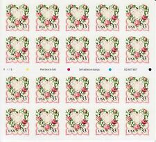 Victorian Love Stamp Sheet - Usa #3274 33 Cent 1999 Love Flowers