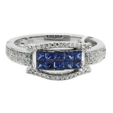 14K WHITE GOLD DIAMOND & INVISIBLE SET BLUE SAPPHIRE COCKTAIL RIGHT HAND RING