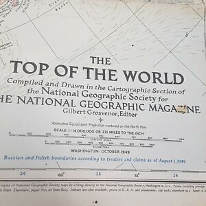 1949 Vintage National Geographic Map of The Top of the World