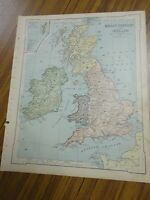 Nice color physical map of Britain/Ireland.  Printed 1896 by American Book Co.