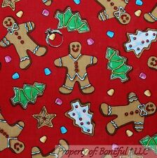 BonEful Fabric FQ Cotton VTG Red Green Candy Gingerbread Man Sm Xmas Cookie Tree