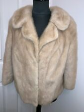 Real ivory cream mink fur jacket wedding bolero 3/4 sleeve coat UK14US10 EU42