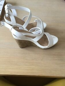 New Look White Cork Wedges Size 4