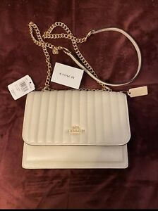 Coach Klare Chalk Crossbody Linear Quilting Leather Shoulder Bag New!