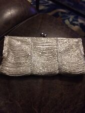 NINA Meadow Silver Beaded Evening Bag with Chain Crossbody
