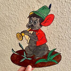 HOLZ-WAND-FIGUR Seltene Maus 1970er 21cm Laubsäge-Arbeit Deko Kind Vintage Alt