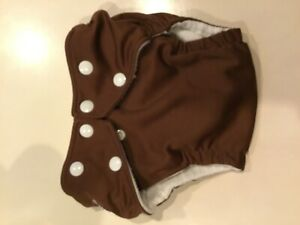 Brown fuzzibunz onesize pocket diaper with 2 minky inserts