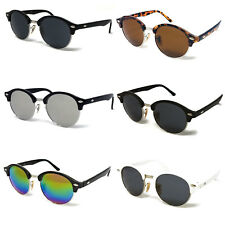 Black Round Lens Sunglasses Mens Ladies Womens Vintage Silver Mirrored Circle UV