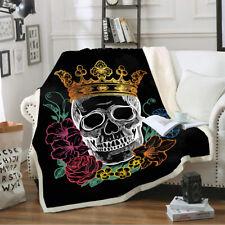 Skull Queen Cotton Velvet Plush Throw Blanket Home Bedding Thick Quilt 60''×80''