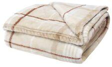 "Cream Check Soft Fleecy Blanket Cosy Warm Fleece Bed Sofa Throwover 51"" X 71"""