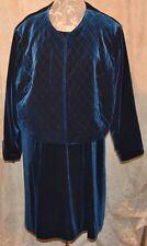 2PC QVC SUSAN GRAVER GORGEOUS VELVET DRESS QUILTED JACKET W/FLOWER PIN BLUE 3X