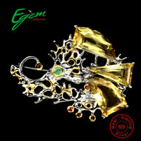 Handmade Natural 20ct Yellow Citrine Sapphire Emerald 925 Sterling Silver Brooch