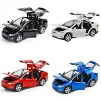 1/32 Tesla Model X 90D Sound Light Metal Diecast Model Car Pull Back Vehicle Toy