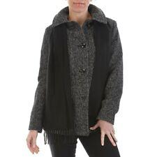NWT Womens London Fog Black/white Tweed Wool Scarf Peacoat Coat Jacket LARGE
