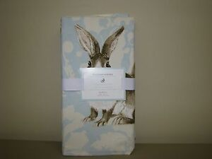 Williams Sonoma Blue Damask Easter Bunny Rabbit Spring  Napkins Set/4 NWT