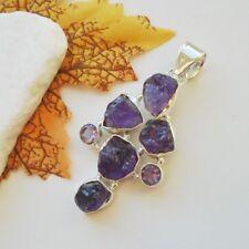 Amethyst Drusen lila violett Design Amulett Anhänger 925 Sterling Silber neu