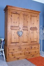 DELIVERY OPTIONS - LARGE QUALITY PINE FARMHOUSE WARDROBE 5 DRAWERS