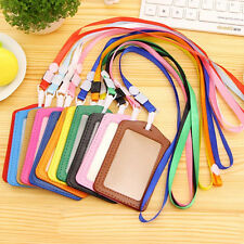 New PU Leather Credit Card ID Window Badge Holder Neck Necklace Lanyard