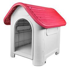 RayGar Plastic Dog Kennel Pet Cat House Weatherproof Indoor Outdoor Shelter Red