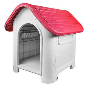 RayGar Cat Kennel Pet Dog House Weatherproof Indoor Outdoor Animal Shelter Red