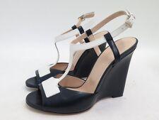 Bally Morell T-Strap Wedge Sandal Navy/White Leather Size EU 38.5, US 8, AUS 8
