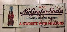 """Vintage NUGRAPE Soda Sign Metal Tin Sign 1940's Rare 31""""L x 12"""" W not Coke Pepsi"""