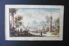 GERMAN SCHOOL 1773 - ANIMATED LANDSCAPE BY FELLINGER - FINE WATERCOLOR
