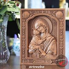 """Our Lady of the Don (Донская) 3D Orthodox Wood Carved Icon (10""""x8"""")"""