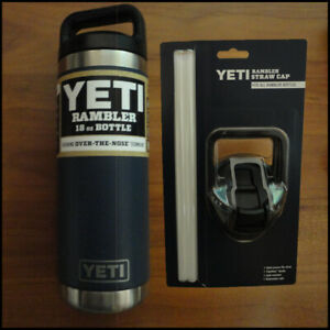 YETI 21071060011 Rambler 18 Oz Water Bottle - Navy  Blue paired with Straw Cap