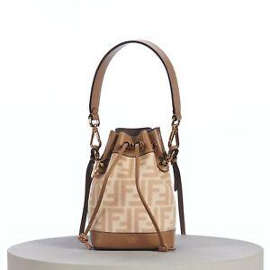 FENDI 1850$ Mon Tresor Mini Bucket Bag FF Motif In Beige & Brown Wool & Leather