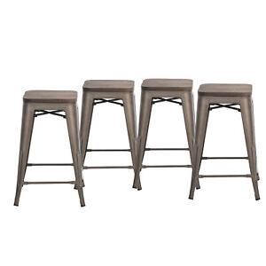 Set of 4 Bronze 61cm Metal Barstools Wooden Seat Industrial Style In/Outdoor
