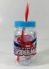 ULTIMATE SPIDERMAN KIDS MASON DRINKING JAR WITH STRAW & LID 562ML