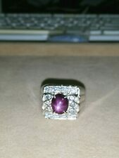 925 SILVER RING WITH STAR RUBY (SIZE 10) SR53