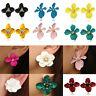 Women Fashion Boho Painting Big Flowers Ear Stud Earrings Charm Jewelry Gifts