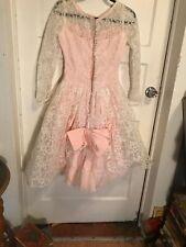 2dbcb1e8c42 1950s Pink Ceil Chapman Style Lace Dress Couture Designer Vintage Size Sm  Bustle