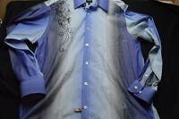 Parc 81 Large 16 1/2 Blue Stripe Long Sleeve Button Men's Shirt