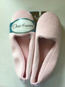 NEW Size 9 Dearfoams Womans Classic Microfiber Velour Closed Back Slipper Pink