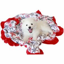 Mirage Pet Products Luxurious Plush Carrier Blanket Red Snowflake