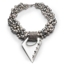 Alexis Bittar Silver Multi strand Pearl Studded Pendant Necklace