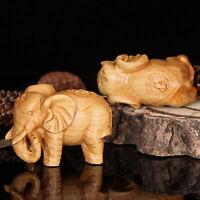 Lucky Hand Carved Cliff Cedar Thuja Elephant Figure Fu Shui Aventurine Ornament