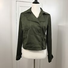 Mossimo Supply Co Women's Jacket Faux Suede Hidden Button Front Olive Green Sz S