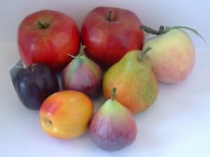 Eight Pieces of Artificial Fruit Apples, Peach, Fig etc ..Very Realistic