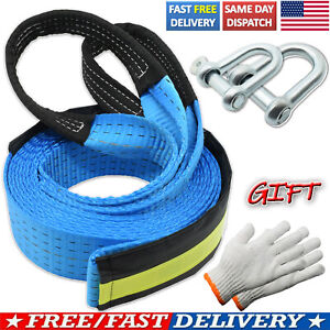 16' 8T Winch Heavy Duty Tow Towing Rope Pull Strap Emergency Recovery 2 Hooks US