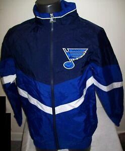 ST. LOUIS BLUES Starter Jacket Nylon BLUE & NAVY Sewn Logos S M L XL 2X