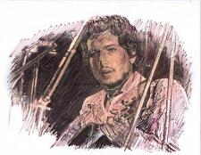 """""""BOB DYLAN ON GUITAR"""" by Ruth  Freeman INK ON WATER COLOR PAPER  8 1/2"""" X 11"""""""