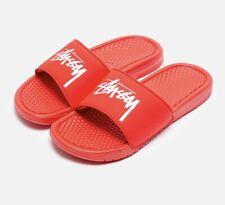 New Nike X Stussy Benassi Slides Habanero Red CW2787-600 Sz 10 In Hand Free Ship