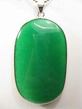 925er Silber grüner Jade Groß Ovale Form Anhänger (ohne Kette)